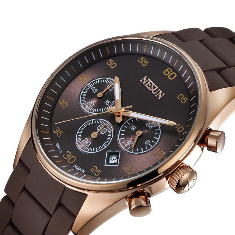все цены на Nesun Men's Watches Top Brand Luxury MIYOTA Quartz movement Watch Men Chronograph Wrist clock Waterproof reloj hombre N8701-1 онлайн
