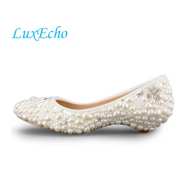 Handmade Ivory Pearl Wedding Shoes Low Heeled And High Heels Shoes