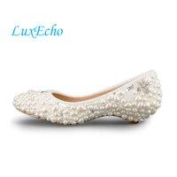 Handmade ngà ngọc trai giày cưới thấp gót và các cao gót giày màu trắng dress bridal giày thai sản giày cưới ppumps phụ n