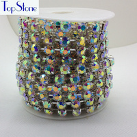 Crystal AB Color 28ss 38ss 45ss High Quality Crystal Rhinestone Round Cup Chain Silver Base 8mm