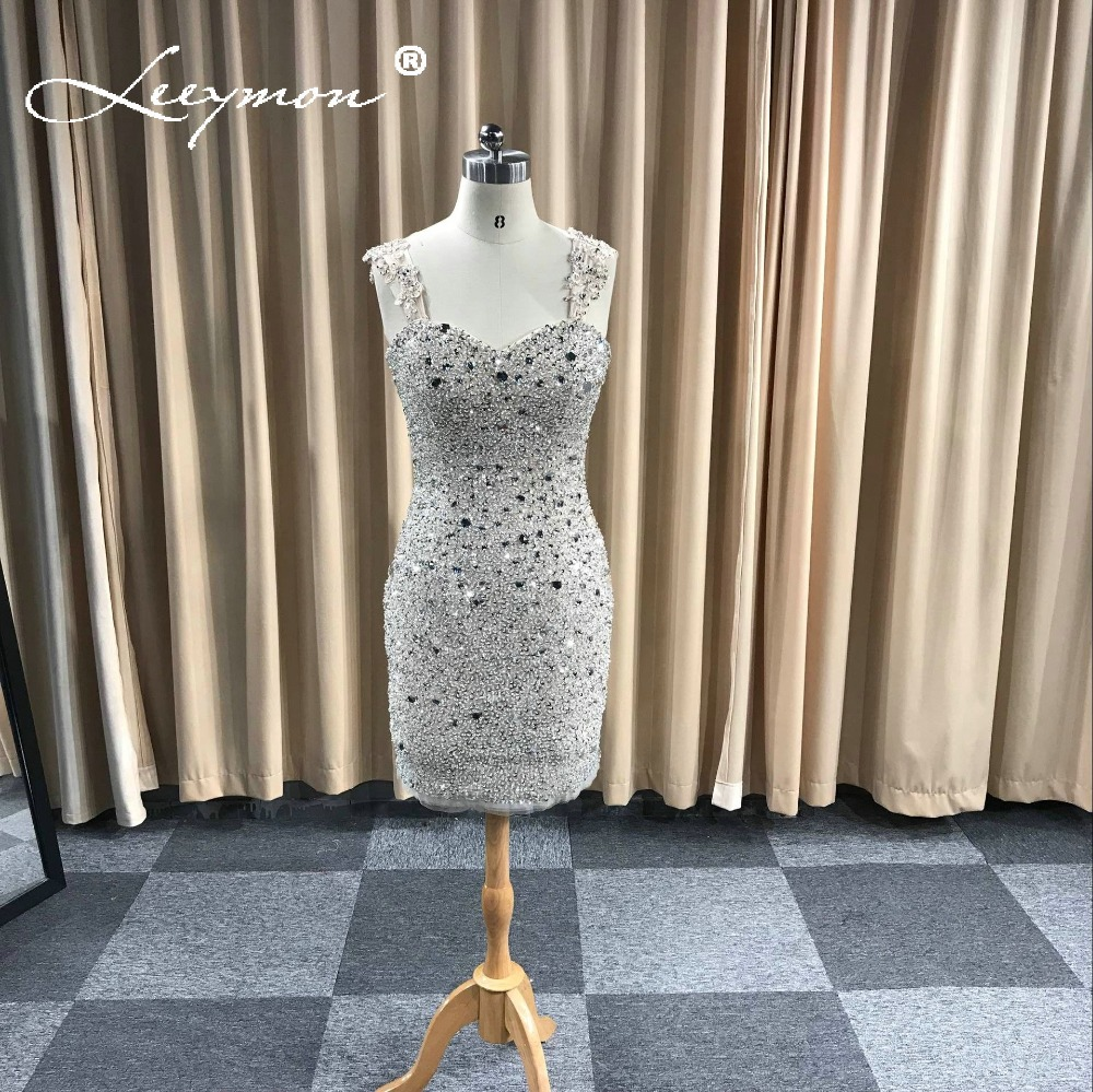 Real 2019 New Short Beaded   Cocktail     Dress   Sweetheart Crystals Prom   Dress     Cocktail     Dresses   vestidos coctel