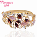Fancyde Girl Round And Leaf Shape Charm Bangle Gold Plated Crystal Bracelet Bangle Women Fasion Jewelry Wholesale