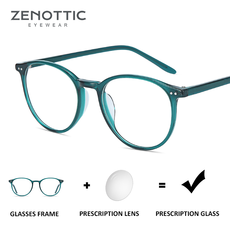 ZENOTTIC Retro Round Prescription Glasses Women Optical Myopia Hyperopia Eyeglasses