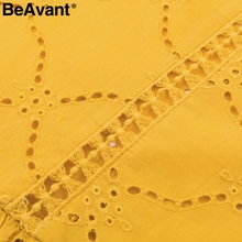 BeAvant Elegant embroidery spring blouse shirt Women hollow out sexy blouse tops Summer casual ruffles yellow blusas female 2018