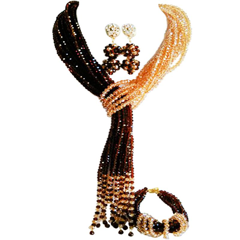 купить Classic Brown Champagne Gold AB Crystal Women Engagement Necklace Earrings Sets 10C-WJ-19 по цене 5068.13 рублей