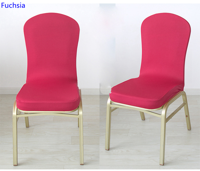 Fuchsia Colour Spandex Half Chair Covers For Wedding Chair Decoration Lycra  Stretch Party Chair Cover On