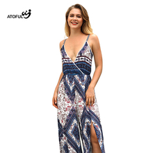 2018 Sexy Women Summer Print Jumpsuit Sleeveless Strappy High Waist Ladies Clubwear Deep V Neck Playsuit Bodycon Party Jumpsuit