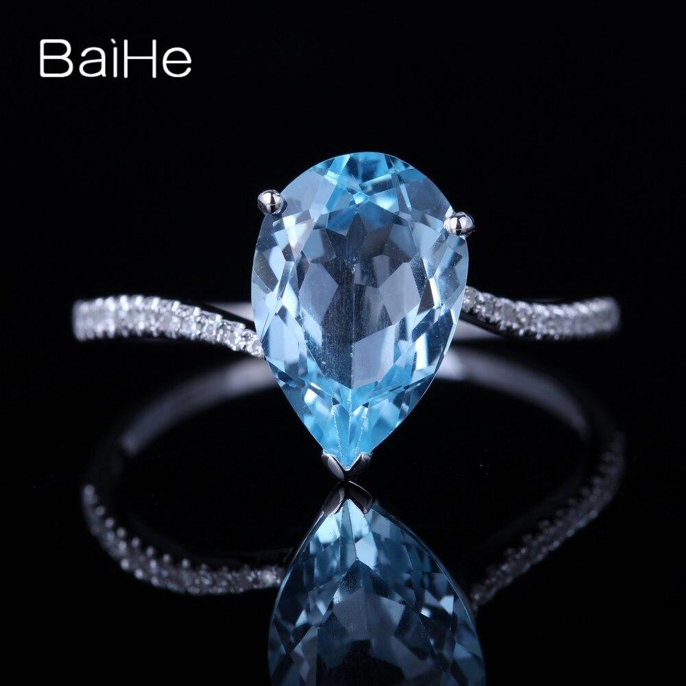 BAIHE solide 14 K or blanc (AU585) 3.13CT certifié bleu ciel poire impeccable véritable bleu topaze mariage femmes Fine bijoux bague