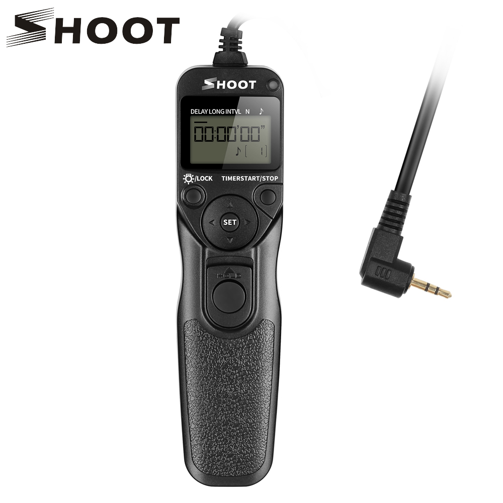 SHOOT RS-60E3 LCD Time Shutter Release Remote Control for Canon EOS 1300D 1100D 1200D 650D 600D 550D 1000D 450D 350D 100D 60D
