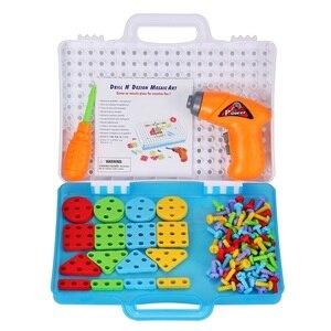 Image 4 - 子供ドリルゲームクリエイティブモザイク建物のパズルセット知的教育玩具電気ねじナットのためのツールキット