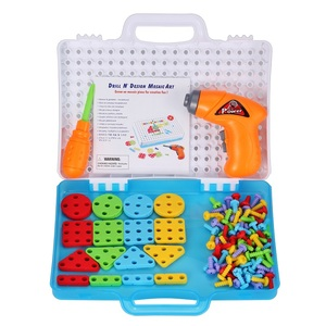 Image 4 - Children Drill Games Creative Mosaic Building Puzzle Set Intellectual Educational Toys Electric Screws Nuts Tools Kit for Boys