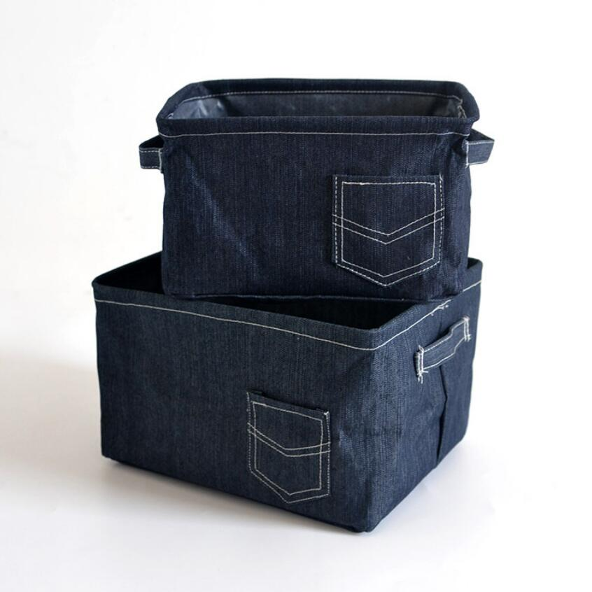 The New cowboy cloth Home decoration Laundry Hamper Foldable Desktop storage basket Makeup box Bag Kids Toy Storage Buckets