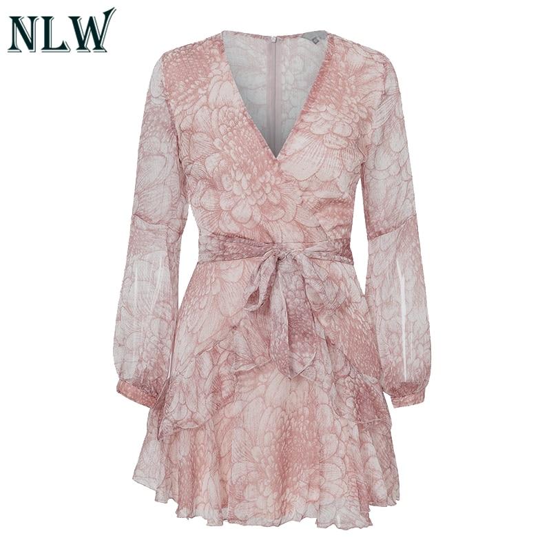 NLW 19 Long Sleeve Chiffon Women Dress Feminino Party Ruffle Dress Elegant Casual Vintage Autumn Winter Pink Dresses Vestidos 22
