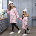 Children's winter down jackets 2017 new girls long sections thickening warm coats mother and daughter  family fitted jacket