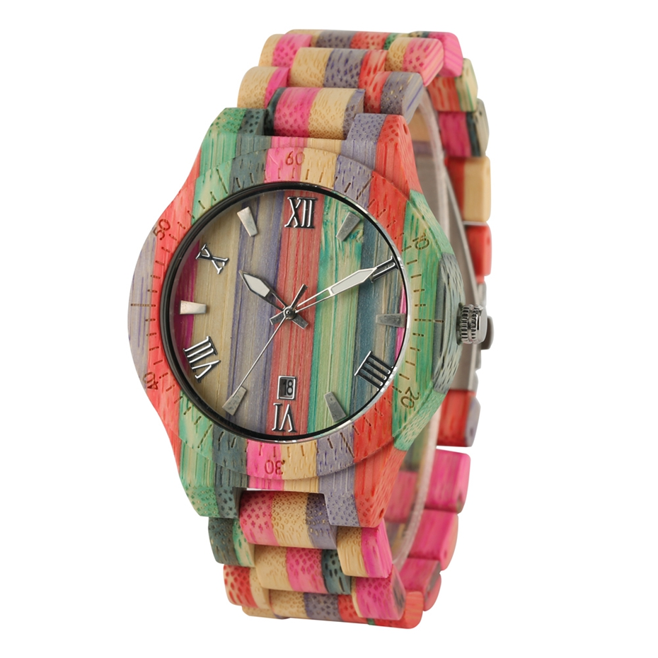 Men Women Fashion Colorful Wood Bamboo Watch Quartz Analog Handmade Full Wooden Bracelet Luxury Wristwatches Gifts for Lovers 2020 (2)
