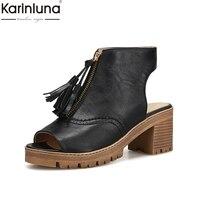 Karinluna 2018 Brand Design Fringes Square High Heels Summer Shoes Woman Sandals Peep Toe Platform Casual