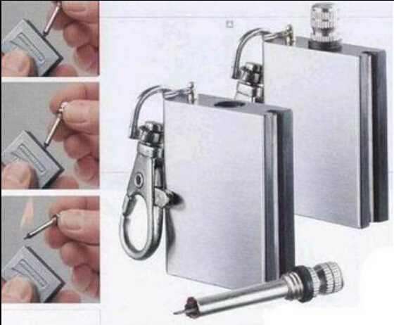 Stainless Steel Permanent Fire Starter Metal Waterproof Matches Survive Flint Stone Lighter With Keyring Outdoor Emergency Tool