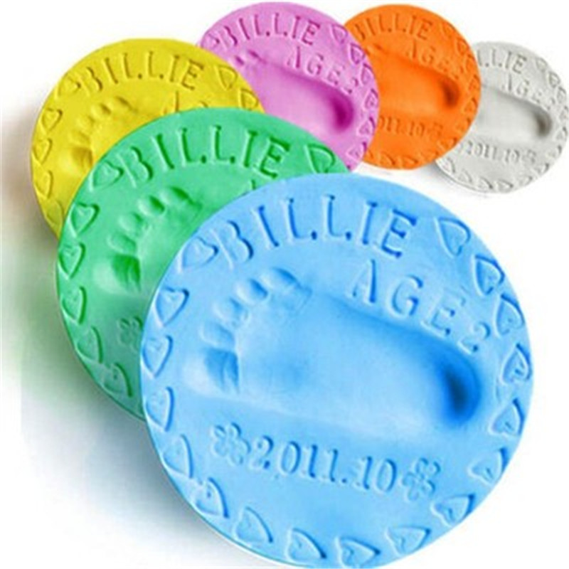 New 8 Colors Baby 3D Hand Footprint Makers DIY Toys Paw Print Pad Air Drying Soft Clay Fingerprint Imprint Parent-child Inkpad