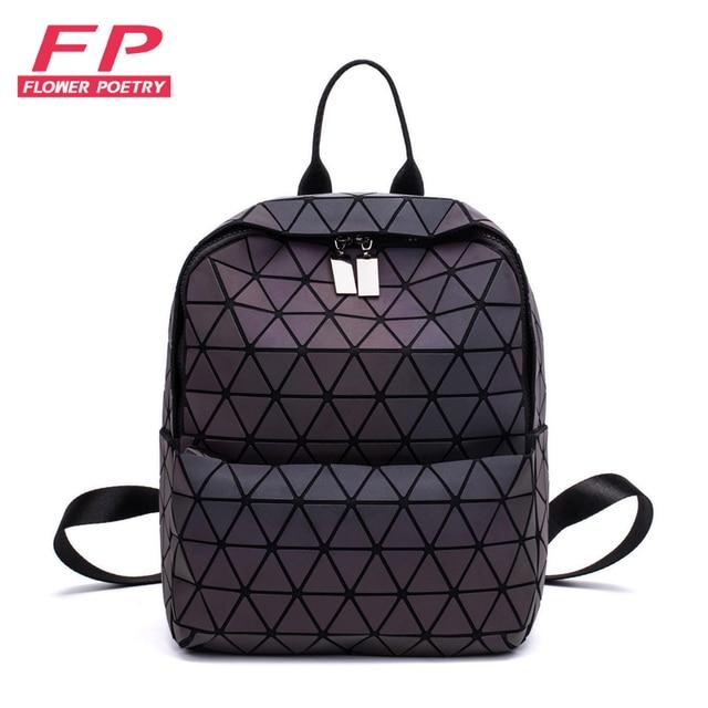 c206bb707f3e Women Backpacks Bao Bag Luminous Geometric Backpack For Teenage Girls  School Bag Holographic Diamond Backpack Mochila