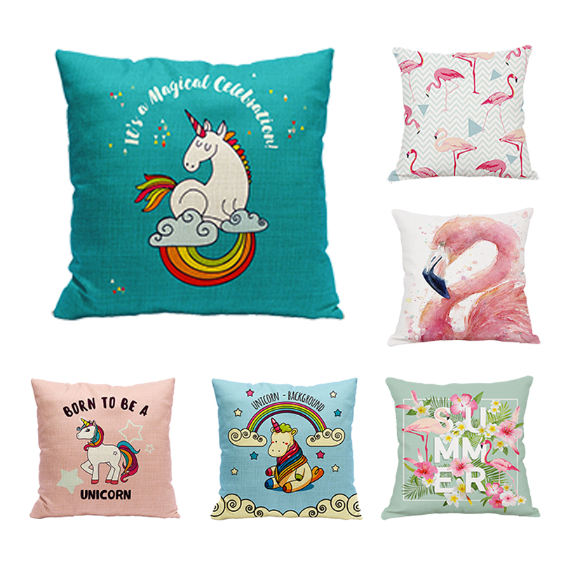 Urijk 1PC Horse Flamingo Cushion Cover Tropical Printed Cartoon Throw Pillows Square Decorative Home Pillow Cover for Children