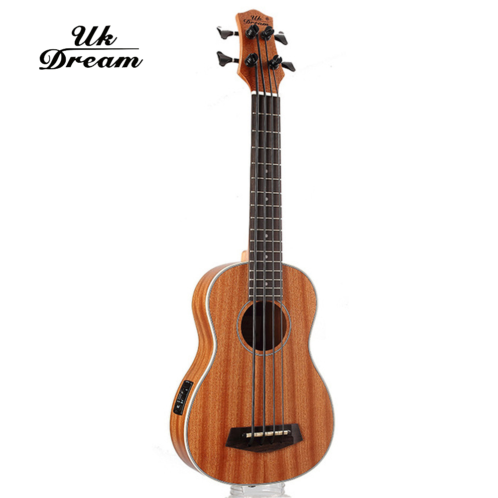 30 Inch Mini Electrica Guitar Musical Instruments Full Sapele Retro Closed Knob Ukulele 4 Strings Bass Guitar Guitarra UB-113