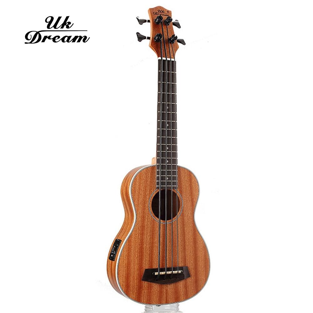 30 pouces Mini guitare électrique Instruments de musique Sapele complet rétro bouton fermé ukulélé 4 cordes guitare basse Guitarra UB-113 - 5
