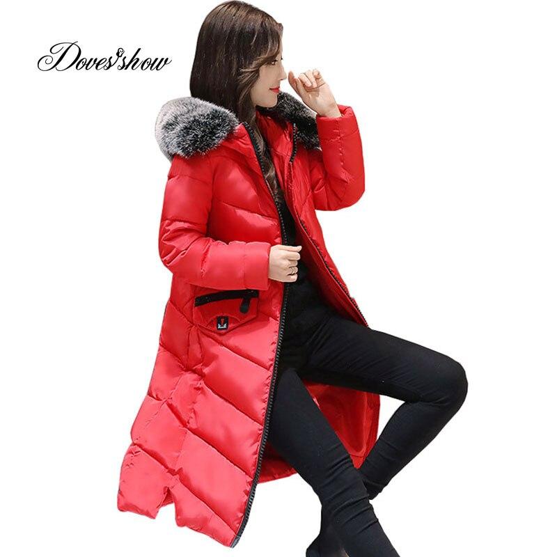 Hooded Fur Collar Winter   Down     Coat   Jacket Long Thick Warm Slim Women Casaco Feminino Abrigos Mujer Invierno 2018 Padded Parkas
