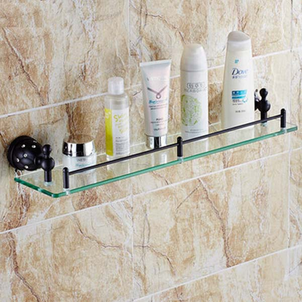 Oil Rubbed Bronze Bathroom Wall Mounted Shelf Single Tiers Storage Holder Gl