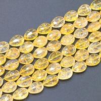 New Fashion 15x20 mét Tinh Thể Tự Nhiên Đá Teardrop Vàng Loose Hạt Diy Dây Chuyền Vòng Tay Đối Với Trang Sức Làm 15 inch B3290