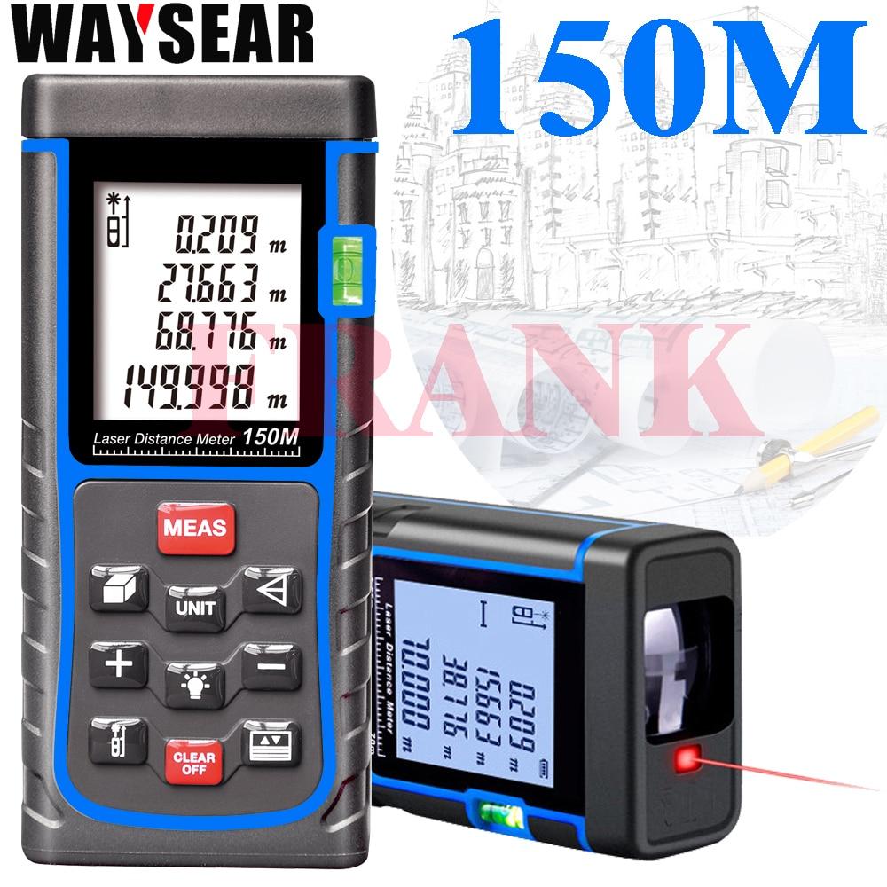Industrie standard Laser-entfernungsmesser 150 mt Meter laser Abstand Meter Digital Range Finder Band Bereich-volumen-Winkel Tester werkzeug