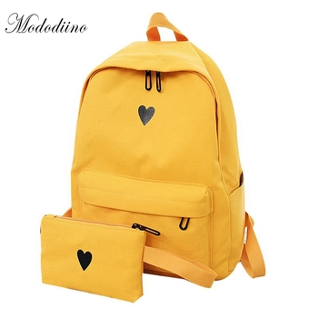moon wood high quality canvas printed heart yellow backpack korean style students travel bag girls school bag laptop backpack Mododiino High Quality Canvas Backpack Travel Bag Printing Heart Backpack School Bag For Teenage Girls Laptop Backpacks DNV0641
