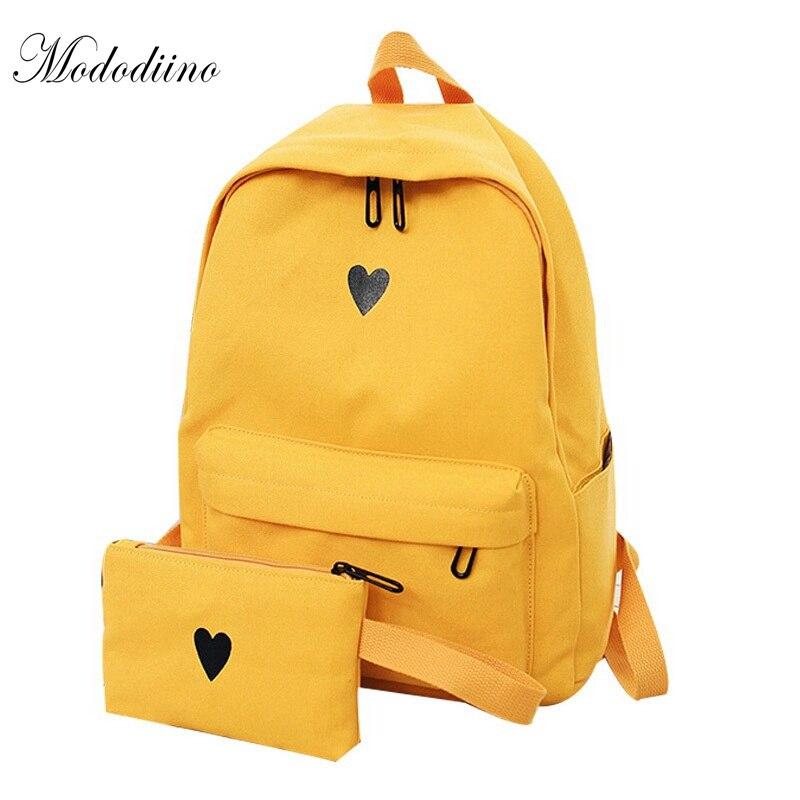 Mododiino High Quality Canvas Printed Heart Yellow Backpack Korean Students Travel Bag Girls School Bag Laptop Backpacks DNV0641