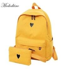Mododiino yüksek kaliteli keten sırt çantası seyahat çantası baskı kalp sırt çantası okul çantası genç kızlar için Laptop çantaları DNV0641