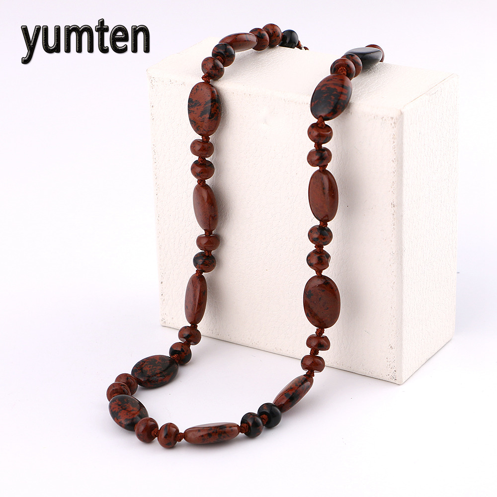 Yumten Woman Nature Stone Short Necklace Women Golden Swan Bead Necklace Fine Jewelry Gi ...