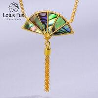 Lotus Fun Real 925 Sterling Silver Handmade Designer Original Fine Jewelry Folding Fan Tassel handle Pendant Necklace for Women