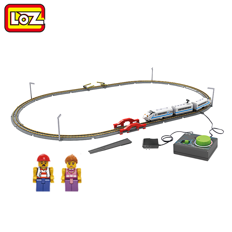 LOZ Remote Control High Speed Train Rail 3D Model CRH Toy 9047 Diamond Block 660PCS Toy For Ages 14+