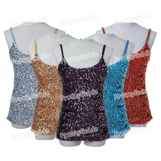 PrettyGuide Women Flashy Sequins All Over Front Sparkle Spaghetti Strap Cami Tank Top Clubwear Top 11 Colors