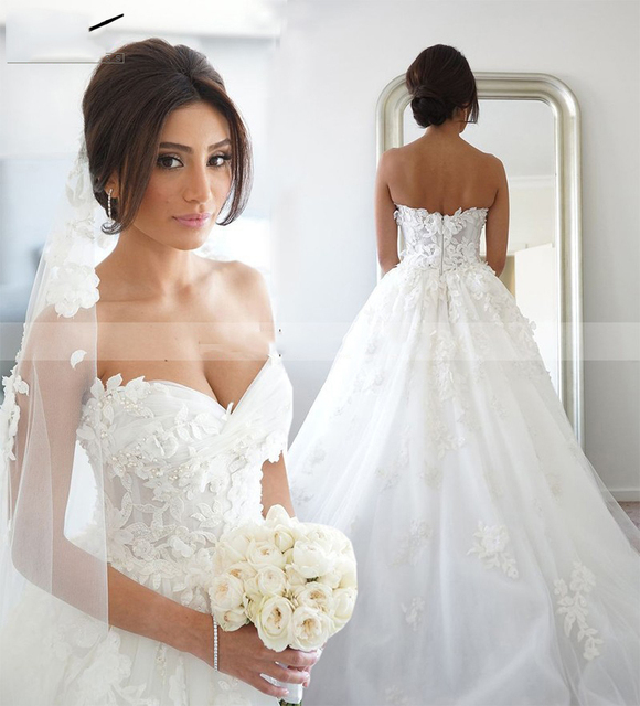 100% Real Photo Elegant A Line Lace Princess Wedding Dresses Lace ...