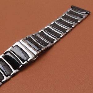 Image 4 - حار 20 مللي متر 22 مللي متر الفولاذ المقاوم للصدأ مع السيراميك الأسود الذكية حزام (استيك) ساعة حزام ل والعتاد S2 S3 ووتش الاكسسوارات الكلاسيكية الأسود تعزيز