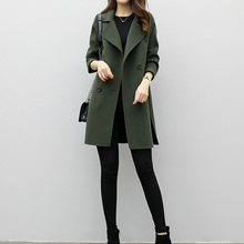 Autumn Spring Warm Trench Coats Female Overcoat Women Wool Blend Coat New Medium-Long Loose Double-breasted Slim Type