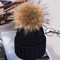 Hot Sale Pom Pom Hats 100% Real Fur Velvet Knitted Hats Gunuine  Fur Pompom Fashion Winter  Warm Skullies Beanies Female Caps