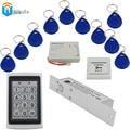 Door Bolt Lock+ EM4305 Keychain rfid card+Waterproof RFID Card Reader+Power supply+ exit button Access Control DOOR system Winte