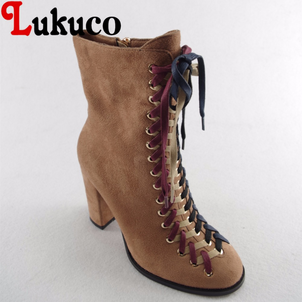 Lukuco pure color women nubuck leather boots microfiber made zip design high square heel shoes with short plush inside