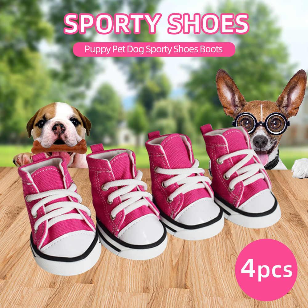 Новинка, 4 шт., розовые джинсовые кроссовки с рисунком собаки, обувь для щенка, Спортивная Тканевая обувь, сапоги для собак, противоскользящая обувь для маленьких и крупных собак