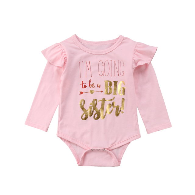 de65d825c 2018 Toddler Kid Baby Girl Long Flutter Sleeve Pink Cotton Big Sister Letters  Bodysuit Outfit Autumn Sweet Clothes
