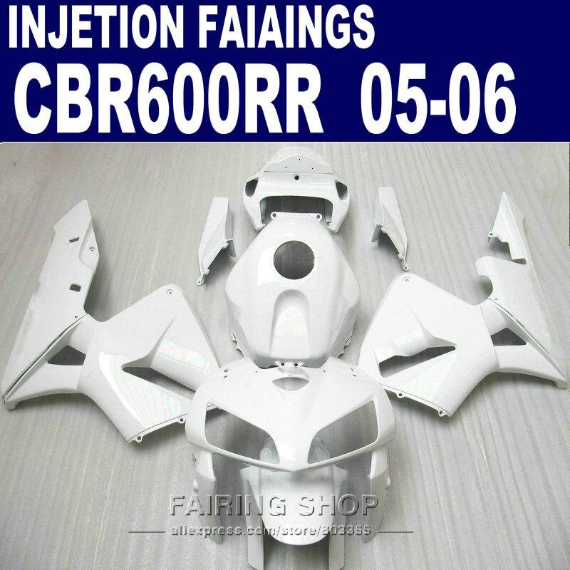 All white Fairings For Honda CBR 600 RR 2006 2005 (100% fit ) cbr600rr 05 06 Injection Abs Fairing kit l84