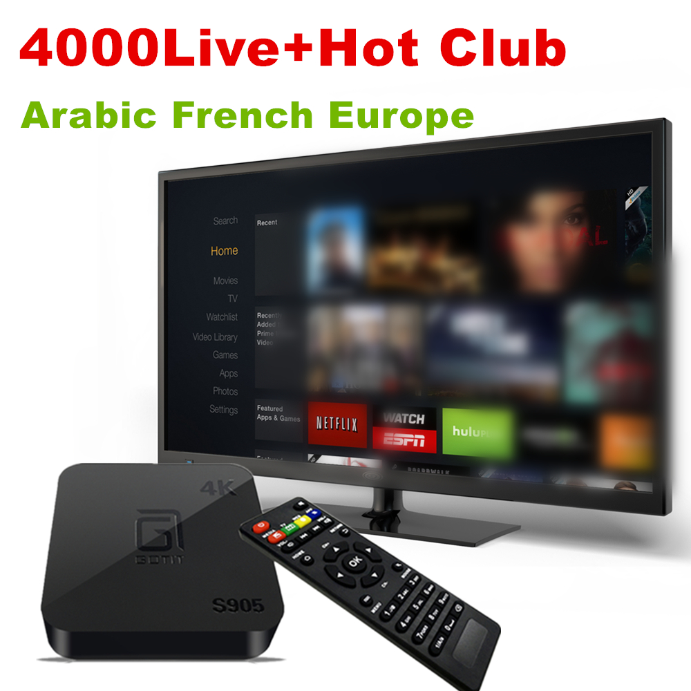 S905 Quad Core Android TV Box with 1 Year 4000+ Arabic French Europe Italian IPTV code LiveTV VOD iptv free For mi box smart tv