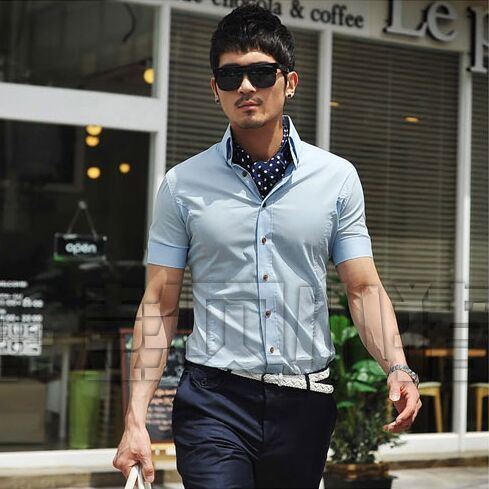 Free shipping Hot Sale 2015 Men's Fashion Short Sleeve Shirts Top Brand Quality Summer Casual Slim Shirts Wholesale
