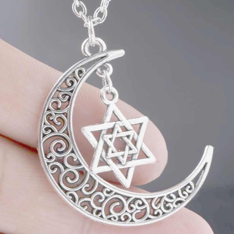 Estrela de david colar feminino corrente colares jóias lua crescente & hexagrama pingente collier colares colar naszyjnik