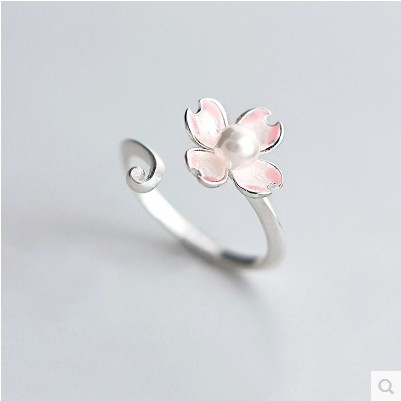 Newst Cherry Blossoms Open Silver Plated Ring Beautiful Silver Enamel Shell Imitation Pearl Birthday Gift for Women Pink Jewelry